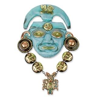 Handcrafted Copper Bronze 'Chavin Nobleman' Mask (Peru)