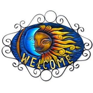 Handcrafted Forged Iron 'Cheerful Eclipse' Welcome Sign (Mexico)