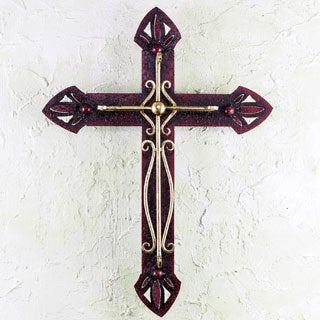 Handcrafted Iron 'Parish Church Cross' Wall Sculpture (Mexico)