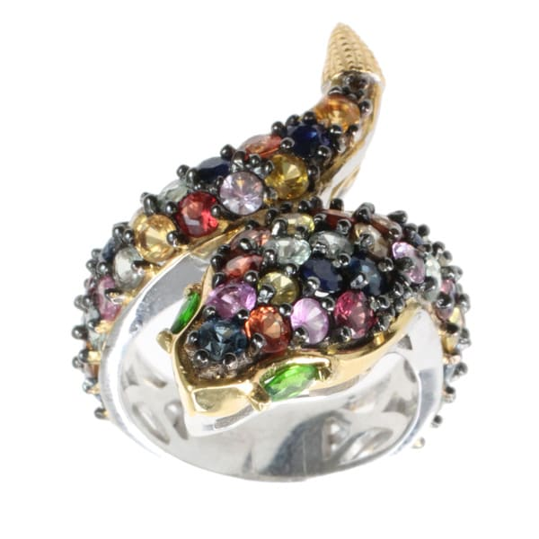 Michael Valitutti Multi-coloured Sapphire 'Snake' Ring