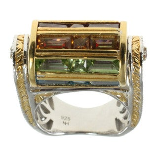 Michael Valitutti Palladium Silver Multi-Gemstone Spin Barrel Ring