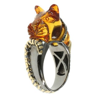 Michael Valitutti Carved Amber Panther Ring