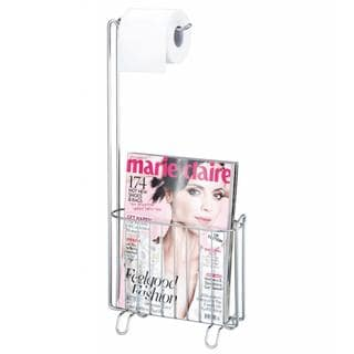 Toilet Paper Holder with Magazine Rack (Silver)