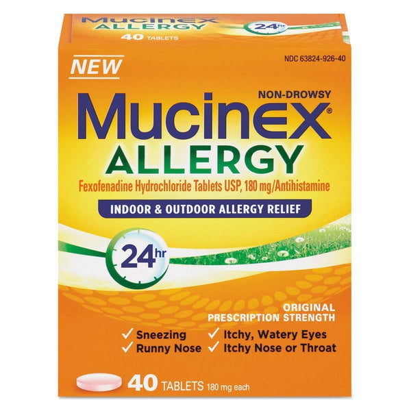 Mucinex Allergy Relief 180 mg Tablets 40 Count