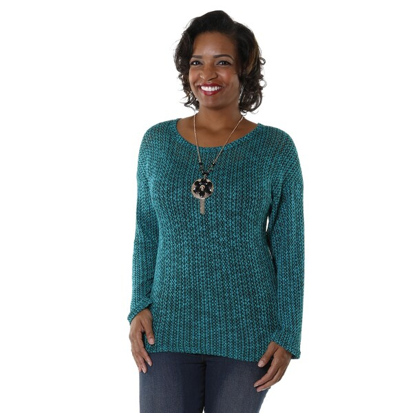 Hadari Women's Plus-size Knit Long Sleeve Blouse
