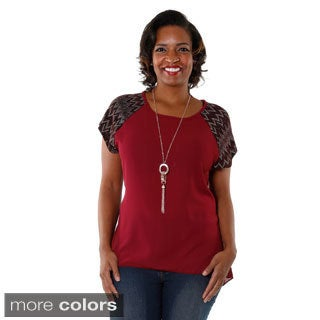 Hadari Women's Plus-size Chevron Sleeve Blouse