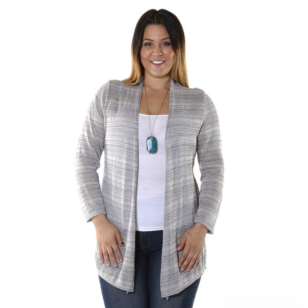 Hadari Women's Plus-size Multi Colored Striped Cardigan