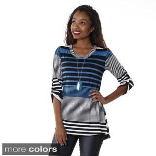Hadari Women's Striped Mid Sleeve Top