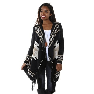 Hadari Women's Waterfall Tribal Print Cardigan