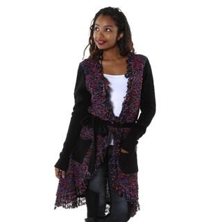 Hadari Women's Long Knit Fringe Trim Cardigan