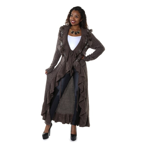 Hadari Women's Long Animal Print Cardigan