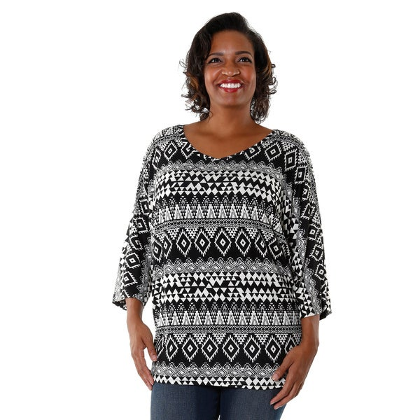 Hadari Plus Tribal Print Dolman Top