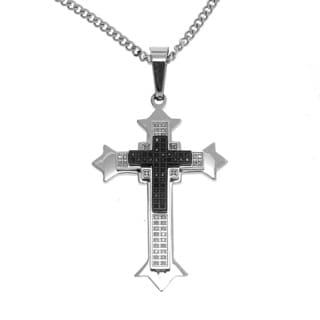 Stainless Steel 1/2ct Genuine Black and White Diamond Cross Necklace (G-H, SI3)