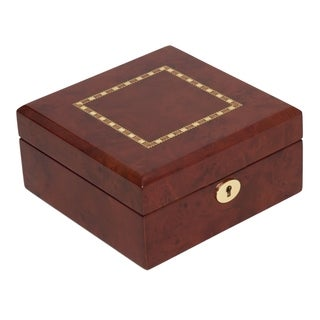 Watch Case in Burlwood with Braiding Inlay (Holds 6 watches)