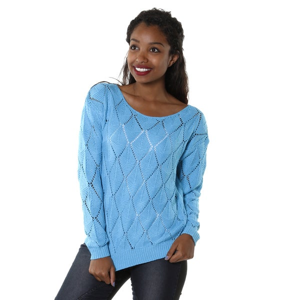 Hadari Womens Open Knit Sweater Top