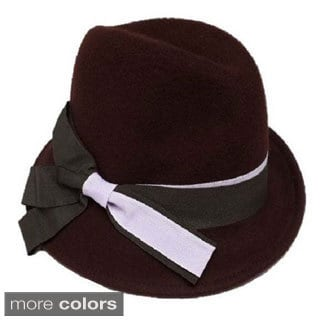 Swan Hat Women's Two-Tone Grosgrain Ribbon Band-Wool Felt Fedora Hat