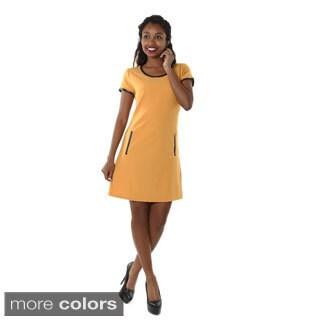 Hadari Womens Pleather Trim Dress