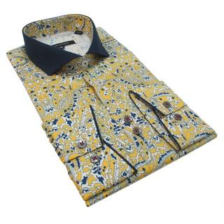 Bogosse Men's Paisley Printed Long Sleeve Button Down Shirt
