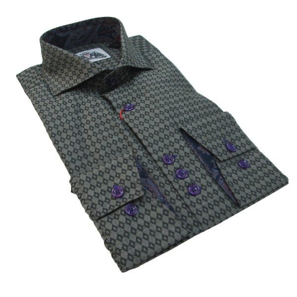 Bogosse Men's Grey Printed Long Sleeve Button Down Shirt