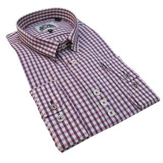 Bogosse Men's Purple and Pink Plaid Button Down Shirt