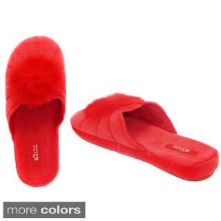 Vecceli Women's Cotton and Satin Slide-on Slippers