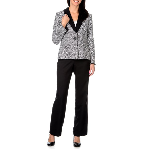 Danillo Women's 2-piece Pants Suit with One Button Printed Jacket