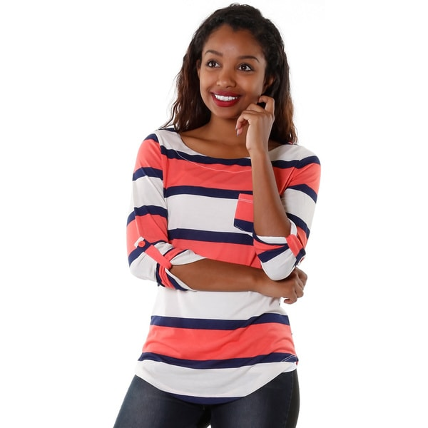 Hadari Womens Striped Pattern Top