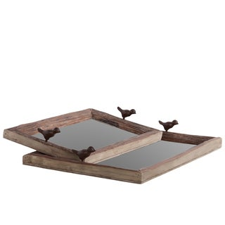 Brown Reclaimed Finish Wooden Tray (Set of 2)