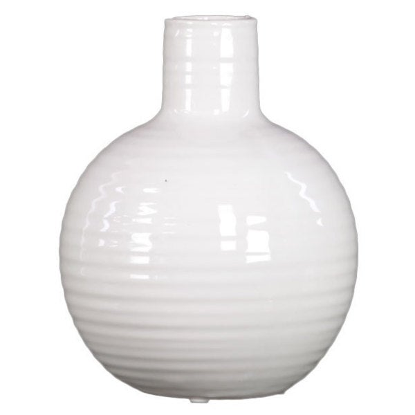 Ribbed White Small Ceramic Vase