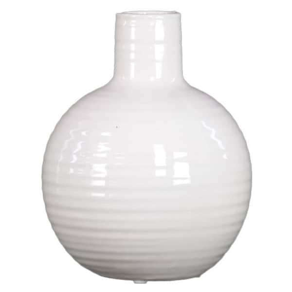 Ribbed White Small Ceramic Vase