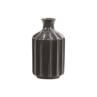 Gloss Dark Brown Large Corrugated Ceramic Vase