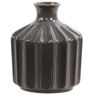Gloss Dark Brown Small Corrugated Ceramic Vase