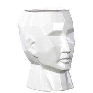 Gloss White Large Face Ceramic Flower Vase