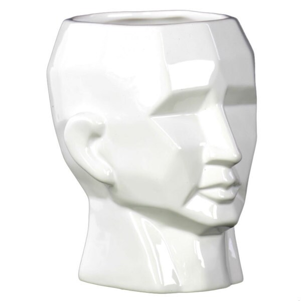 Gloss White Small Face Ceramic Flower Vase
