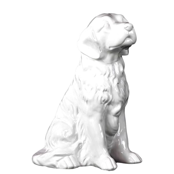 Gloss White Ceramic Sitting Golden Retriever