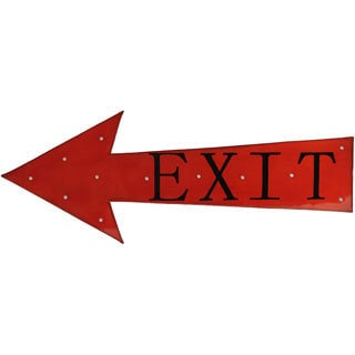 Red Metal Exit Sign Wall Decor with LED Lights