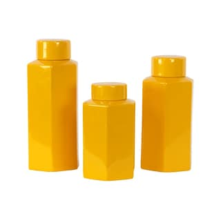 Amber Ceramic Jars (Set of 3)