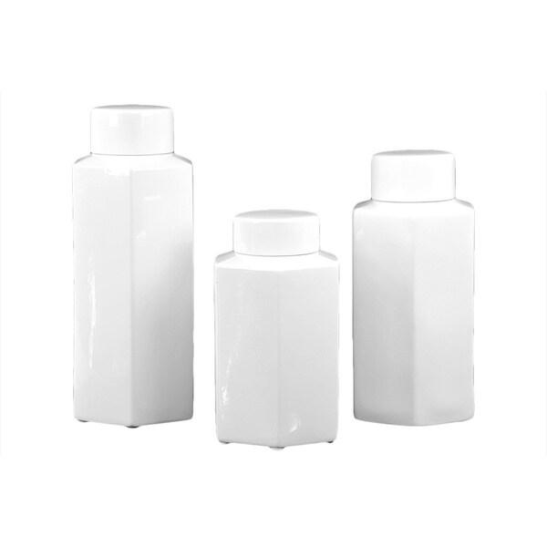 White Ceramic Jars (Set of 3)
