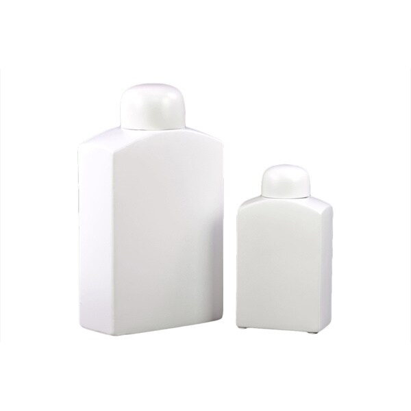 White Ceramic Jars (Set of 2)