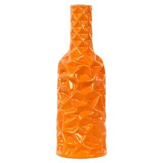Wrinkled Orange Ceramic Vase