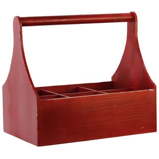Crimson Red Wood Milk Rack with Handle and 6 Slots