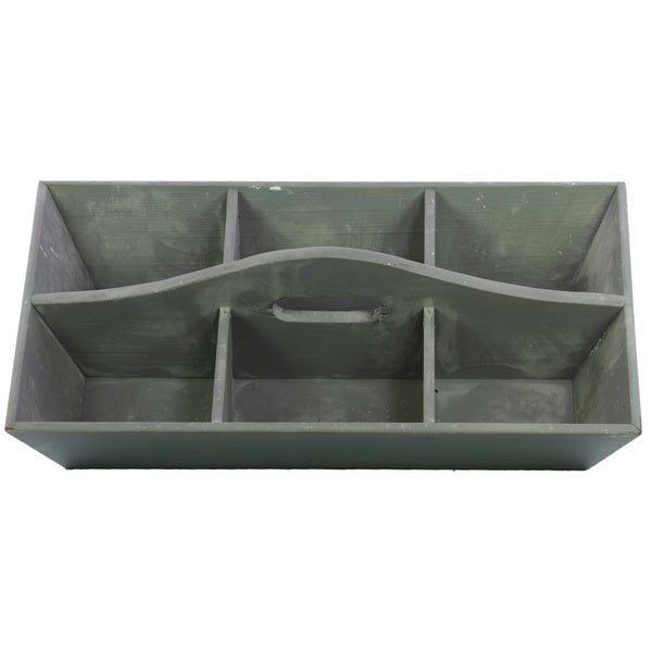 Grey Wooden Tray with Hole Handle and 6 Slots