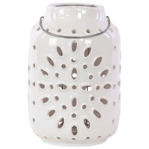 Gloss White Ceramic Lantern with Metal Handle