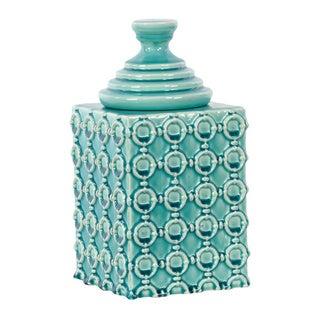 Gloss Cyan Ceramic Jar with Lid Small