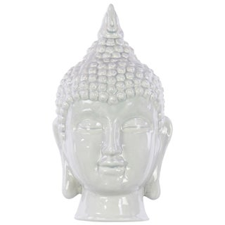 Grey Ceramic Buddha Head Decor Gloss