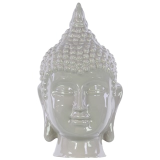Gloss Mocha Ceramic Buddha Head Decor