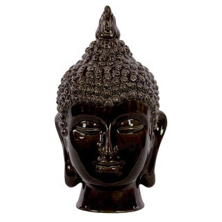 Gloss Black Ceramic Buddha Head Decor