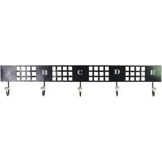 Large Black Metal Wall Hanger with 5 Lettered Hooks