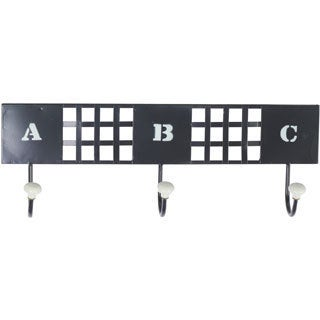 Small Black Metal Wall Hanger with 3 Hooks