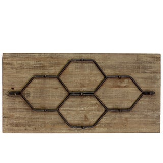 Bronze Metal Hanger with 9 Hooks on a Wood Backing